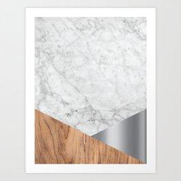 White Marble Wood & Silver #157 Art Print