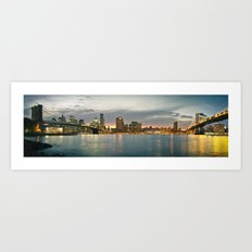 New York City, Brooklyn Bridge and Manhattan Bridge Panorama Art Print