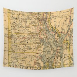 Vintage Map of Rhode Island (1875) Wall Tapestry
