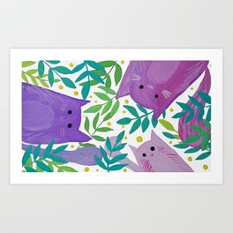 Cats and branches - purple and green Art Print