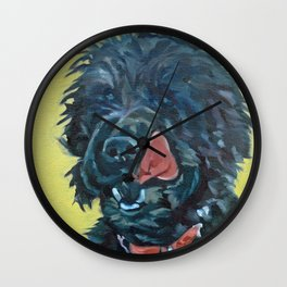 Chester the Black Fluffy Dog Wall Clock