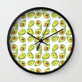 Watercolor Painting Green Avocado Pattern Wall Clock