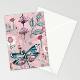 Rose Gold Dragonfly Garden | Pastel Stationery Cards