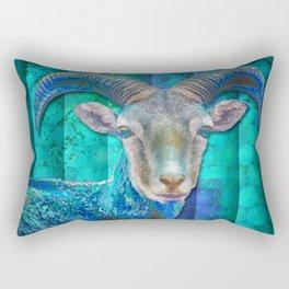Billy Goat Blue Rectangular Pillow