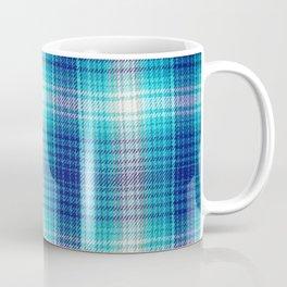 Navy blue teal aqua white geometric plaid stripes Coffee Mug
