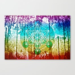 The Flower of Life & Metatron's Cube - The Rainbow Tribe Collection Canvas Print