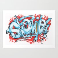 grafitti Art Prints featuring Grafitti Illustration by Squidoodle