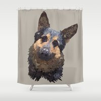 german Shower Curtains featuring German Shepherd by ArtLovePassion