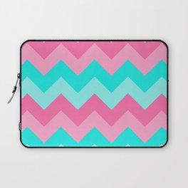 Hot Pink Turquoise Aqua Blue Chevron Zigzag Pattern Print Laptop Sleeve