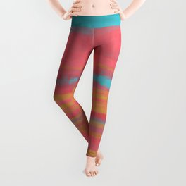 Modern Minimal Abstract Painting in Turquoise and Pink Coral Colors with Gold Texture Leggings