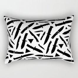 Survival Knives Pattern - Black and White Rectangular Pillow