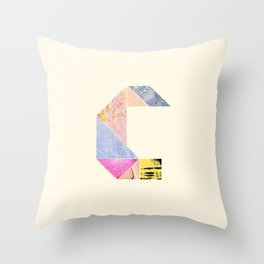 Collaged Tangram Alphabet - C Throw Pillow