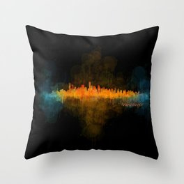 Vancouver Canada City Skyline Hq v04 dark Throw Pillow