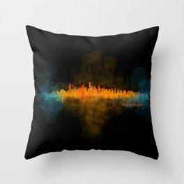 Vancouver Canada City Skyline Hq v04 dark Throw Pillow