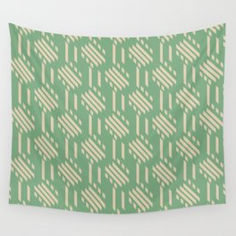 Imperfect Geometric Stripes Pattern Green Beige Wall Tapestry