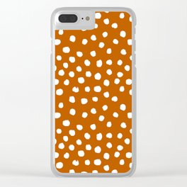 Texan texas longhorns orange and white university college football dots Clear iPhone Case