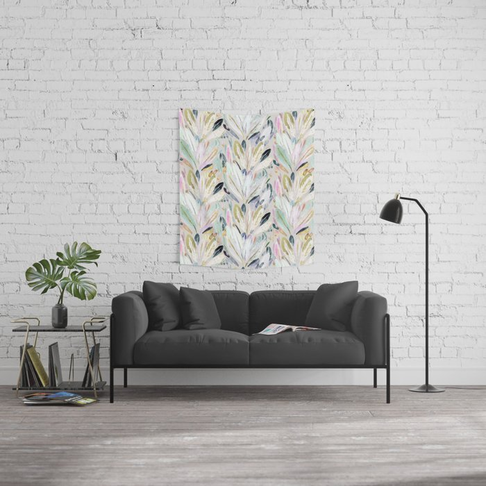 Pastel Shimmer Feather Leaves on Gray Wall Tapestry