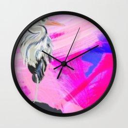 Heron at Sunset Wall Clock