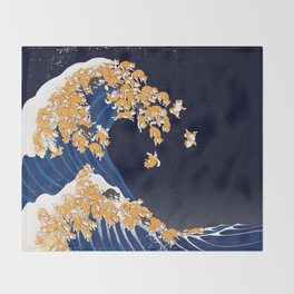 Shiba Inu The Great Wave in Night Throw Blanket