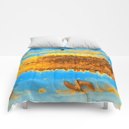 Rusted Middle Sky Blue and Orange Comforters