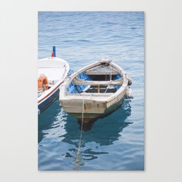 Little fishing boat, blue sea Canvas Print