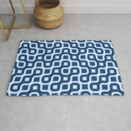 Truchet Modern Abstract Concentric Circle Pattern - Royal Blue Rug