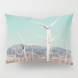 Wind turbine in the desert at Kern County California USA Pillow Sham