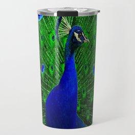 Decorative Blue Peacock Displaying Green-Chartreuse Art Travel Mug