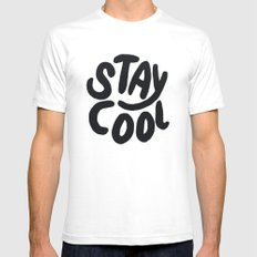 Stay Cool White SMALL Mens Fitted Tee
