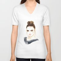 cara V-neck T-shirts featuring Cara by Esther Kang
