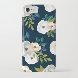 Midnight Florals - Blue & Cream iPhone Case