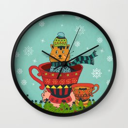 Christmas Kitty in a Teacup Wall Clock