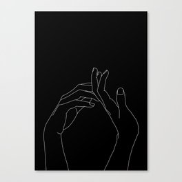 Hands line drawing illustration - Abi black Canvas Print