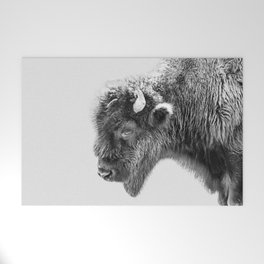 Animal Photography   Bison Portrait   Black and White   Minimalism Welcome Mat