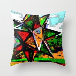 Glass Star & Vineyard Retro CGI Pixelart Throw Pillow