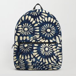 Blue and White Flower Pattern Backpack