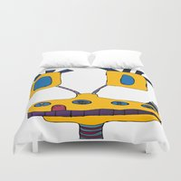 submarine Duvet Covers featuring yellow submarine giraffe by JBLITTLEMONSTERS