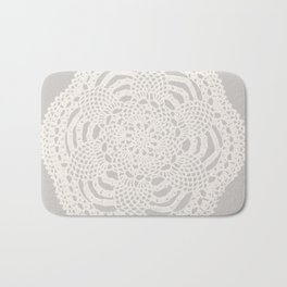 Cream on Taupe Antique Crocheted Lace Pineapples Doily Bath Mat