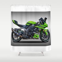 motorbike Shower Curtains featuring Kawasaki Motorbike by cjsphotos