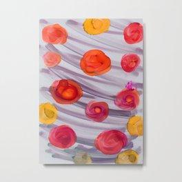 alchol ink red orange flowers Metal Print