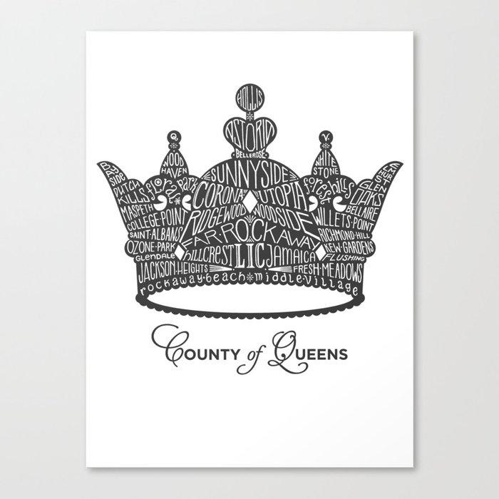 County of Queens   NYC Borough Crown (GREY) Canvas Print