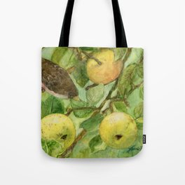 Bird in Apple Tree with Apples - Watercolor on Panel - Laurie Rohner Tote Bag
