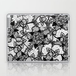 Elegant floral black hand drawn lace pattern Laptop & iPad Skin