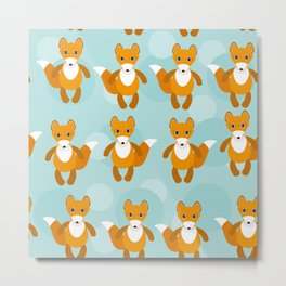 pattern with funny cute fox animal on a blue background Metal Print