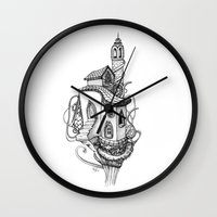 castle in the sky Wall Clocks featuring Castle in the sky by Mary Koliva