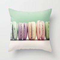 macaron Throw Pillows featuring Macaron Row by Tiny Deer Studio