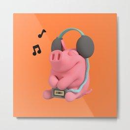 Rosa the Pig Music Metal Print