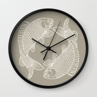gray Wall Clocks featuring Koi Alabaster Blue Gray by Beautiful Homes
