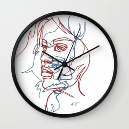 Two faces, continuous line Wall Clock