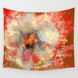 White Flower in Red Decoration Wall Tapestry